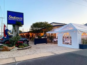 Read more about the article Outside Dining is Here! & w/ the help of  our tent is all dressed up & ready to … – Stefano's Restaurant LBI